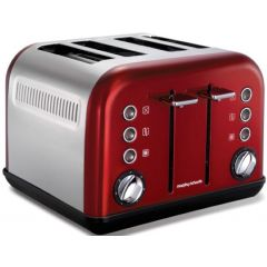 "Morphy Richards 242004 4 Slice Stainless Steel Red ""Accents"" Toaster"
