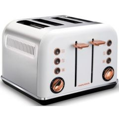 "Morphy Richards 242106 4 Slice Stainless Steel White Rose Gold ""Accents"" Toaster"