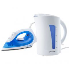 Pineware 849785 1.7L White Kettle & 1400W Blue Iron Twin Pack