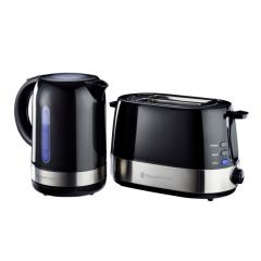 Russell Hobbs 855805 2 Piece Gloss Black Breakfast Pack