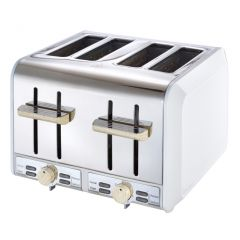 Russell Hobbs 858423 4 Slice White & Wood Toaster