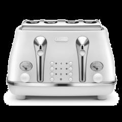 DeLonghi CTOE4003.W Icona Elements 4 Slice Toaster - Cloud White