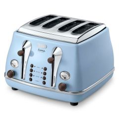 DeLonghi CTOV4003.AZ 4 Slice Icona Vintage Toaster - Anita Blue