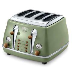 DeLonghi CTOV4003.GR 4 Slice Icona Vintage Toaster - Olivia Green