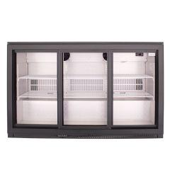 SnoMaster DBQ-300LS3 300L Black Under Counter Beverage Cooler Sliding Door