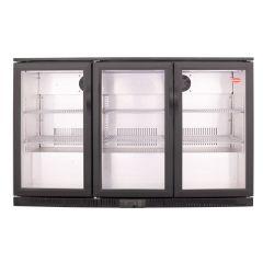 SnoMaster DBQ-300LSS 300L Black Under Counter Beverage Cooler Hinged Door