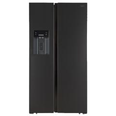 Defy DFF457 552L Premium Black Brushed Steel Side By Side Fridge/Freezer with Water & Ice Dispenser