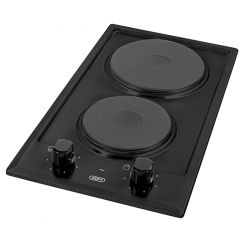 Defy DHD400 300mm Black 2 Plate Domino Solid Hob