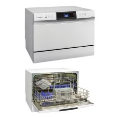 Swiss Appliances DW3209A 6 Place White Counter Top Dishwasher