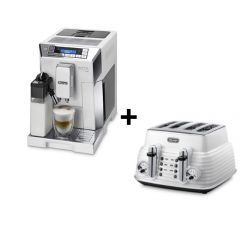 De'Longhi Eletta Cappuccino Top ECAM45.760W & White Scultura Toaster Bundle