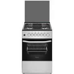 Ferre F5C40G1.S 500mm 4 Burner Silver Gas Free Standing Oven