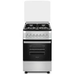 Ferre F5S40G2.FDI.S 500mm Silver 4 Burner Gas Free Standing Oven