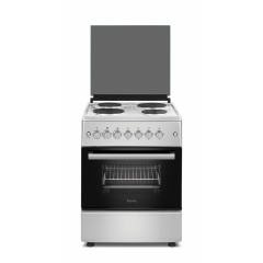 Ferre F6B04E3.TTS 600mm Silver 4 Plate Electric Free Standing 4 Plate Oven
