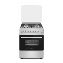 Ferre F6B04G2.SI 600mm Inox 4 Burner Gas Freestanding Oven