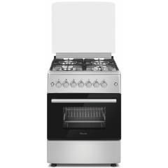 Ferre F6B40E3.FDIT.S 600mm Silver 4 Burner Gas/Electric Free Standing Oven