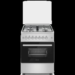 Ferre F6B40E3.FDITCG.SI 600mm Silver 3 + 1 Wok Burner Gas/Electric Free Standing Oven