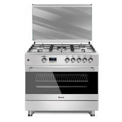 Ferre F9S50G2.FDIDTLC.I 900mm Silver 4 + 1 Wok Burner Gas Free Standing Oven