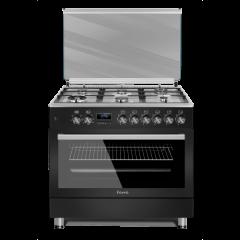 Ferre F9S60E6.PIB 2020 900mm Matt Black 6 Burner Premium Gas/Electric Freestanding Oven