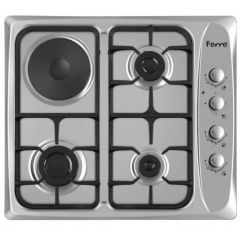 Ferre B-631.CS 600mm Inox 3 Gas +1 Electric Plate Hob