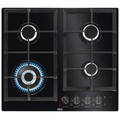 AEG HKB64540NB 600m Black 4 Burner Gas On Glass Hob