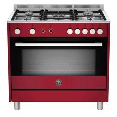 Bertazzoni TUS95C81DVI Europa 900mm Burgandy Gas Free Standing Oven